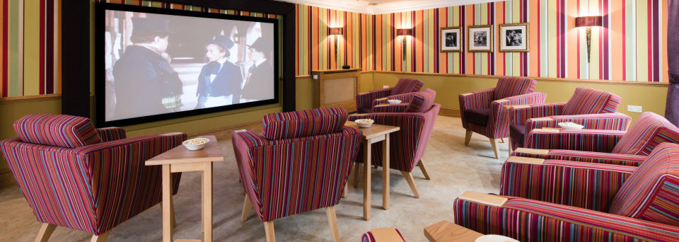 The fantastic cinema room at Hallmark's Anya Court care home