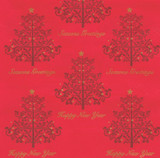 Red 2-Ply Festive Christmas Tree Napkins, 33cm - Pack of 100