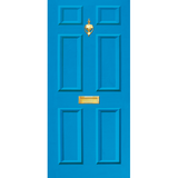 NEW RANGE: Door Decal with Letterbox and Knocker - Mid Blue