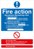 Fire Action (Standard) 300mm x 250mm