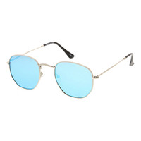 Lexie Hexagon Metal Sunglass- Silver/Blue