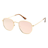 Lexie Hexagon Metal Sunglass- Rose