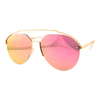 Lindsay Metal Mirrored Aviator- Rose/Pink