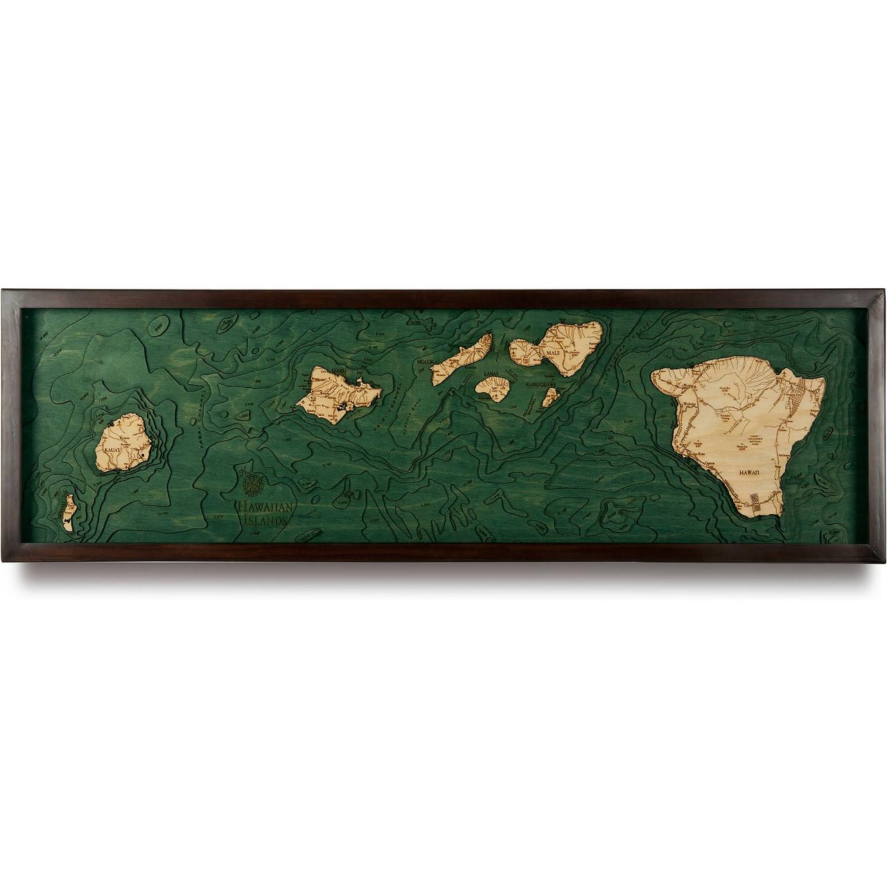 Hawaiian Islands Wooden Map Art Topographic 3d Chart