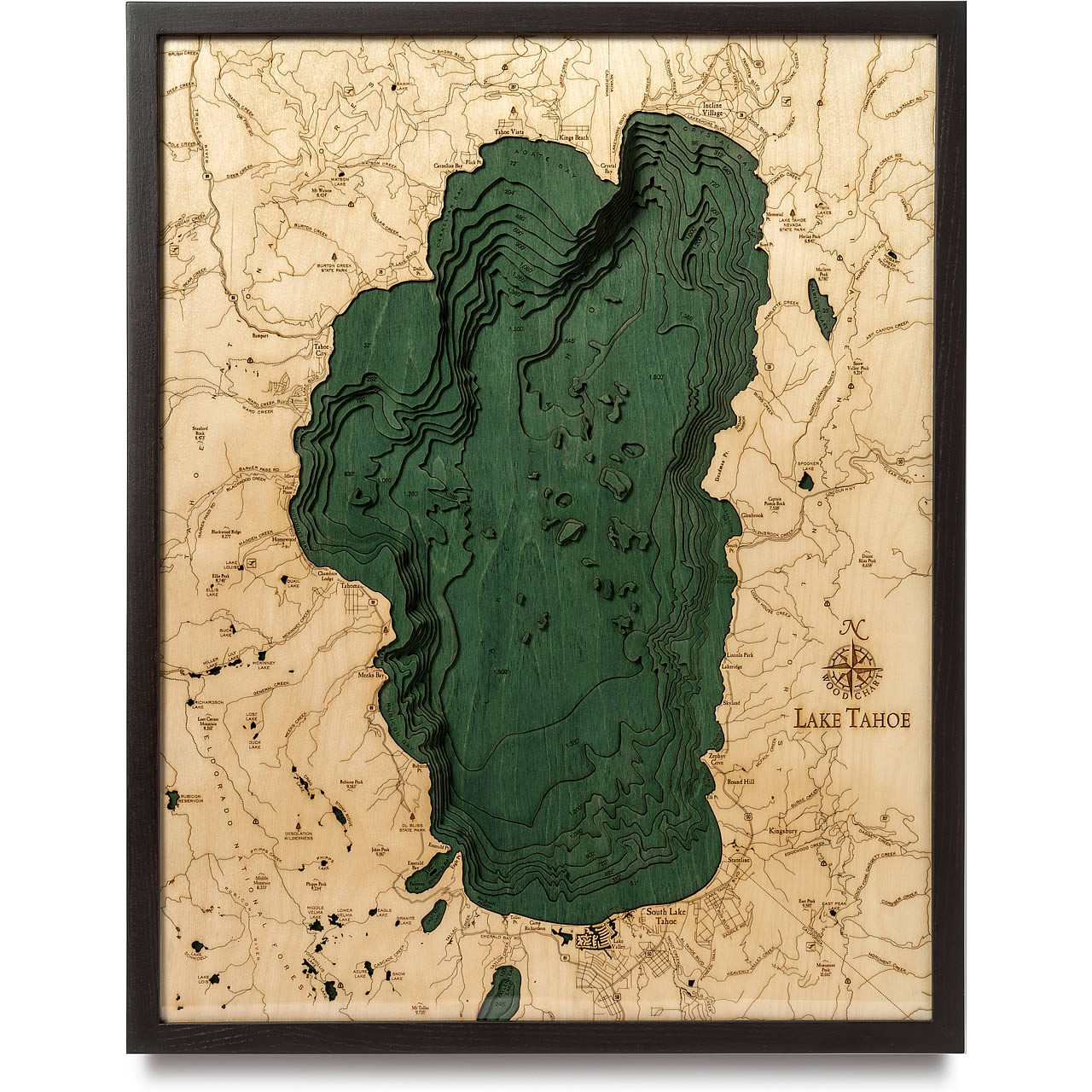 Lake Tahoe Wooden Map Art Topographic 3d Chart