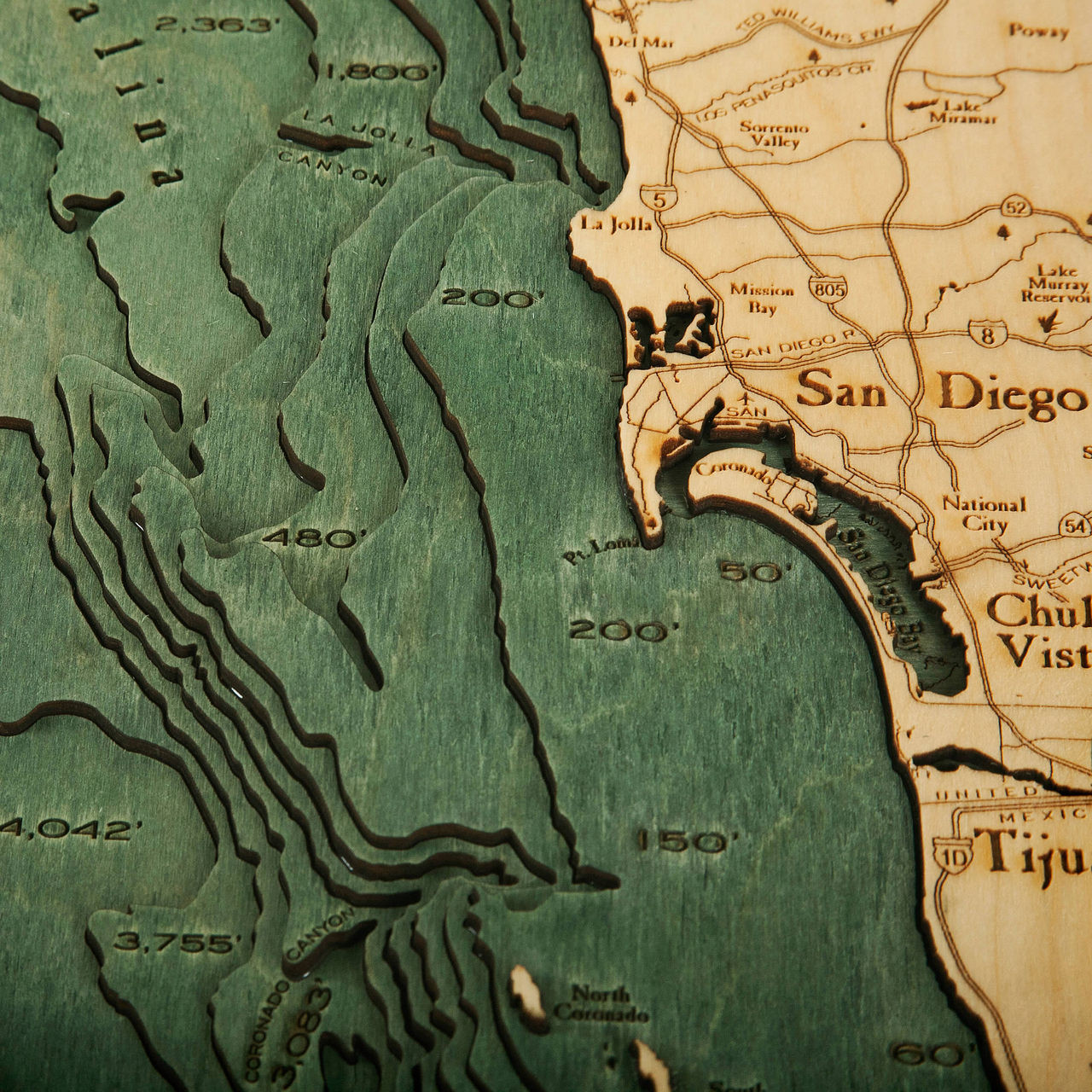 Los Angeles To San Diego Wooden Map Art Topographic 3d Chart