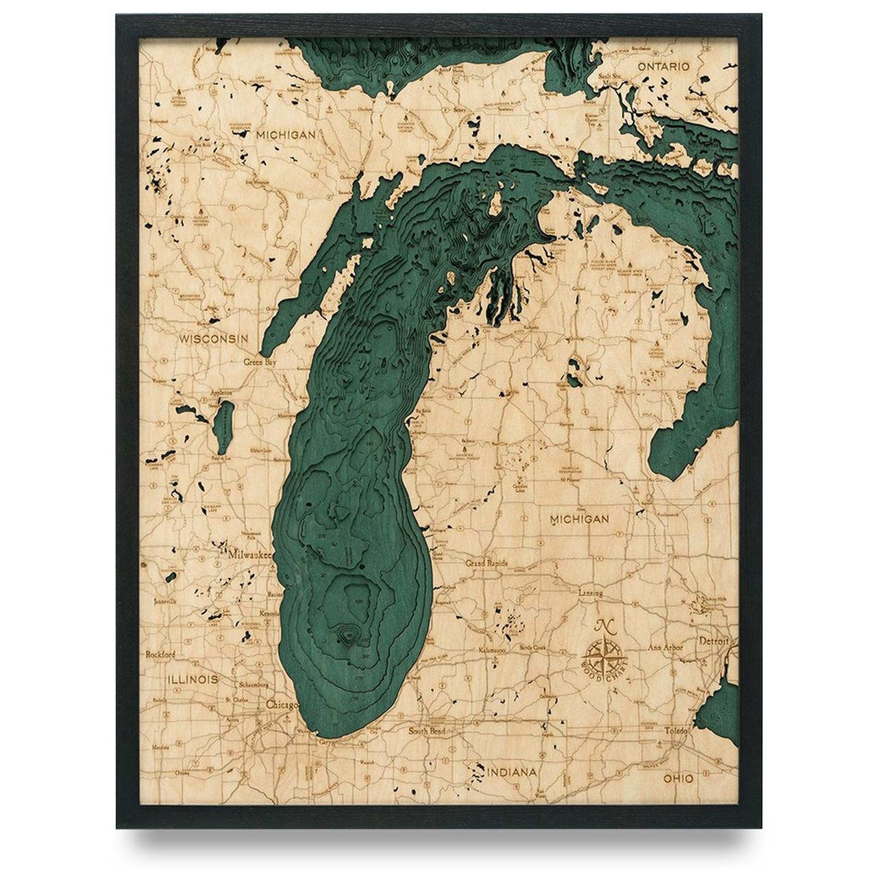 topographic map of lake michigan Lake Michigan Wooden Map Art Topographic 3d Chart topographic map of lake michigan