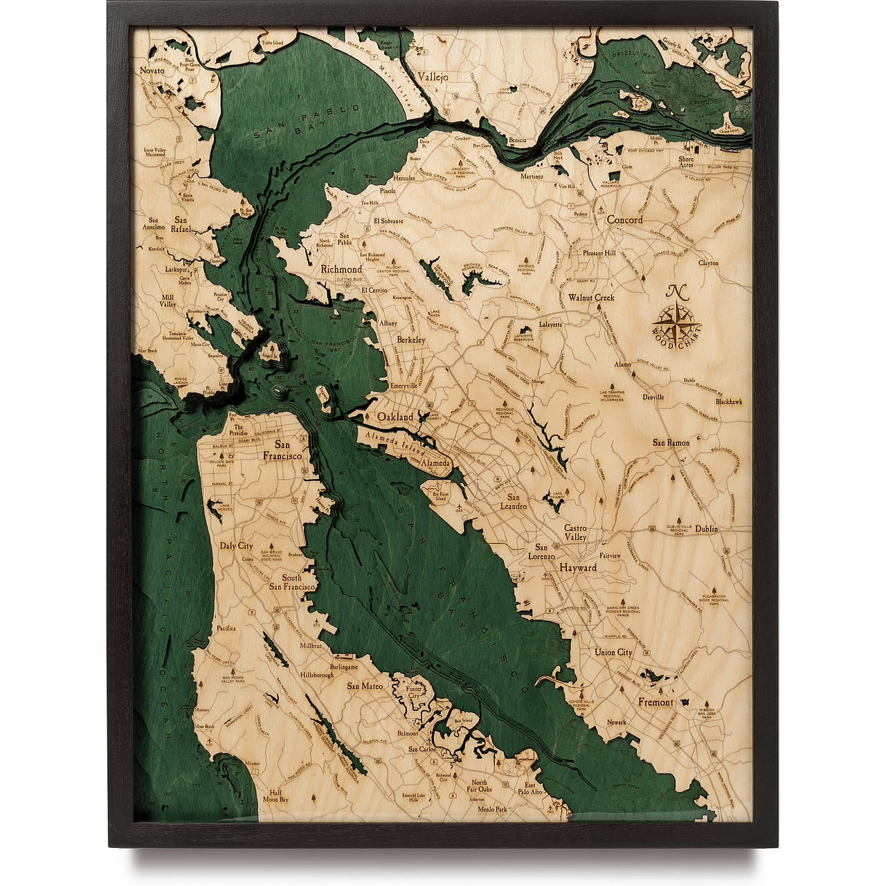 san francisco bay topographic map San Francisco Bay Wooden Map Art Topographic 3d Chart