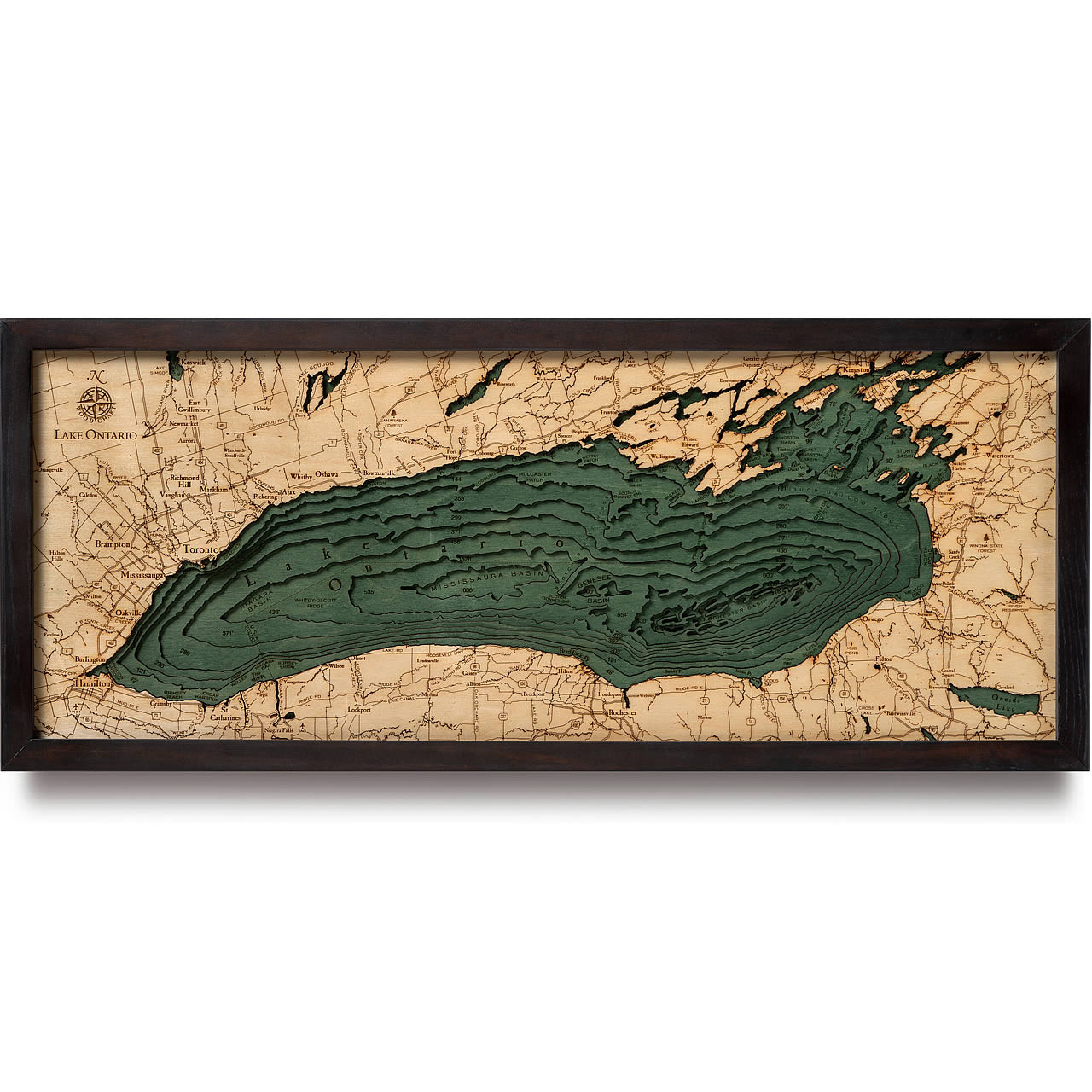 Lake Ontario Wooden Map Art | Topographic 3D Chart