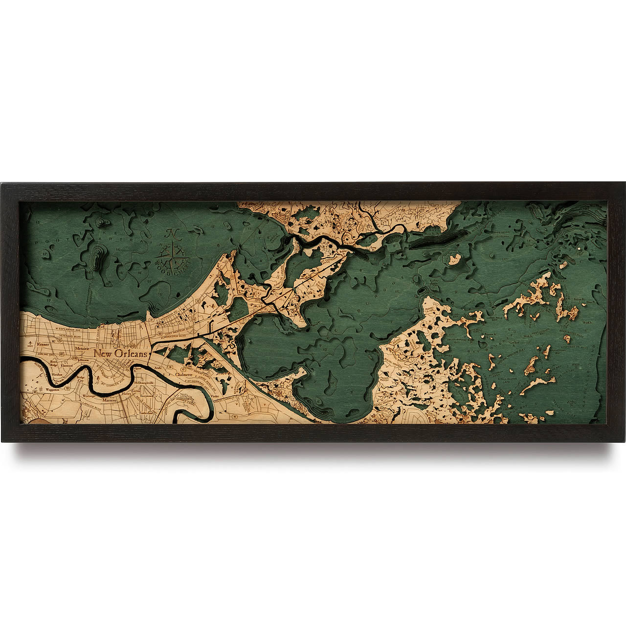 New Orleans Wooden Map Art Topographic 3d Chart