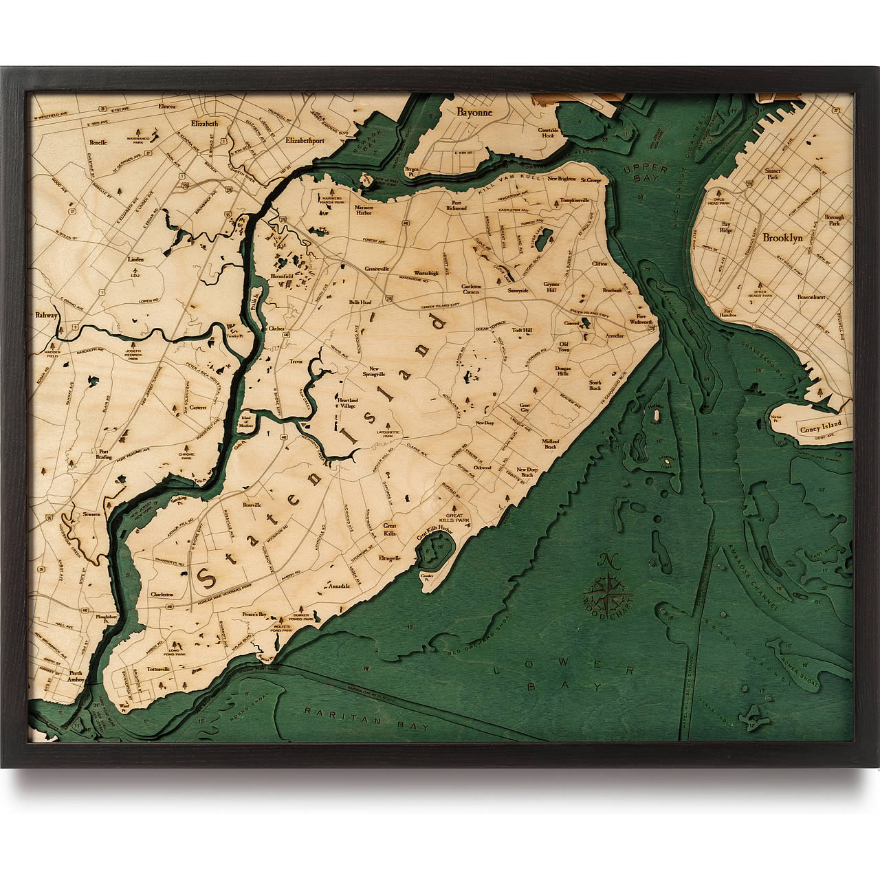 Staten Island NY Wooden Map Art | Topographic 3D Chart