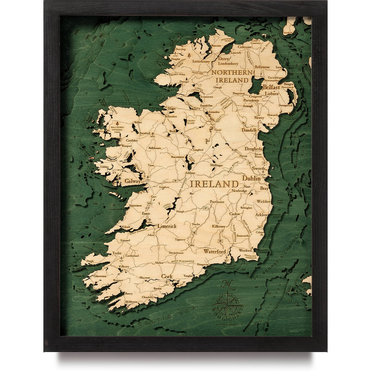 Ireland Wooden Map Art Eire Topographic 3d Chart