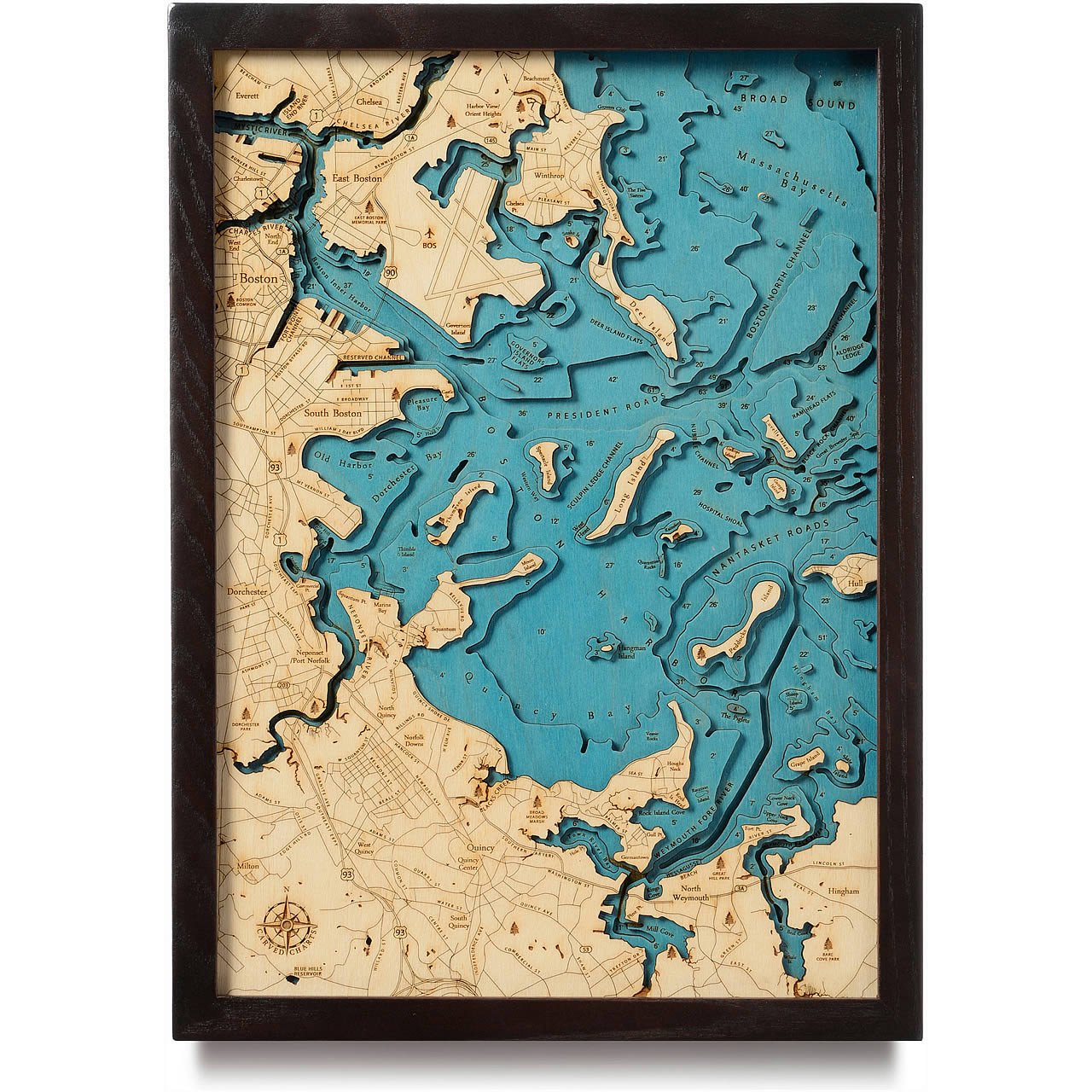 Boston Blue Wooden Map Art Topographic 3d Chart