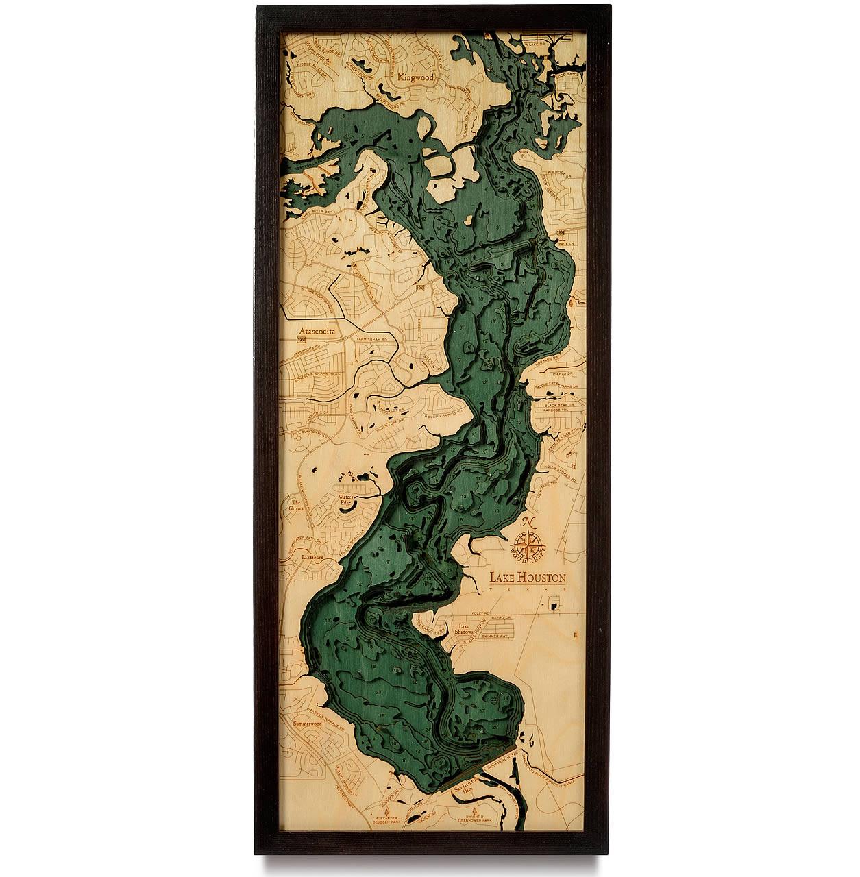Lake Houston TX Wooden Map Art | Topographic 3D Chart