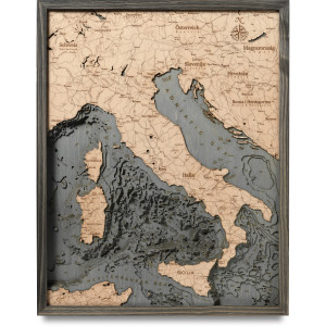 nautical wood map italy coastal blue grey
