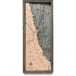 nautical wood map chicago coastal blue grey