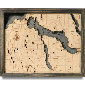 nautical wood map lake charlevoix coastal blue grey