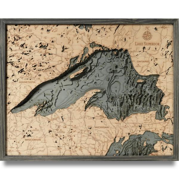 nautical wood map lake superior coastal blue grey