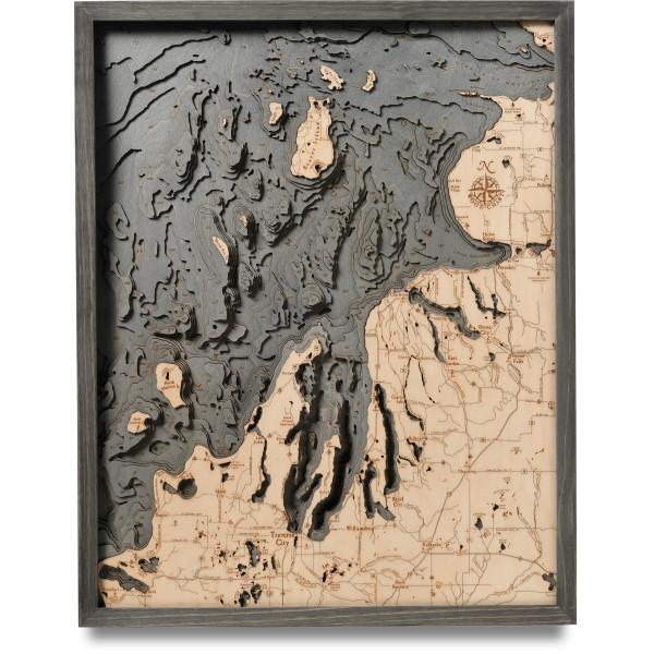 nautical wood map northwest michigan coastal blue grey