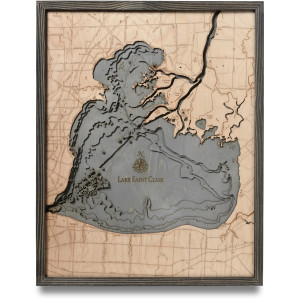 nautical wood map lake st clair coastal blue grey