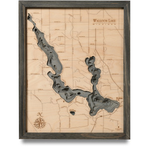 nautical wood map walloon lake coastal blue grey