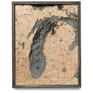 nautical wood map lake michigan large coastal blue grey