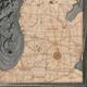 nautical wood map lake michigan large coastal blue grey