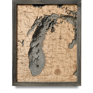nautical wood map lake michigan small coastal blue grey
