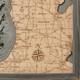 nautical wood map lake michigan small coastal blue grey