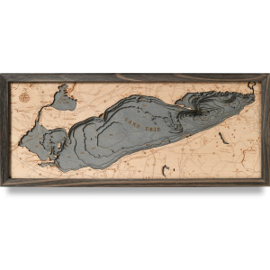 nautical wood map lake erie coastal blue grey
