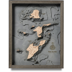 nautical wood map bass island coastal blue grey