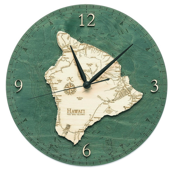 nautical wood hawaii big island wall clock