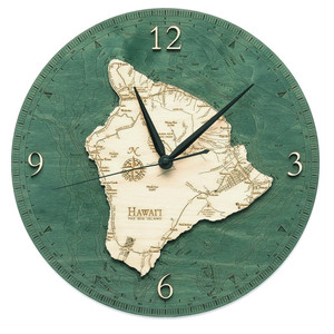 nautical wood hawaii big island wall clock