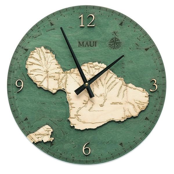 nautical wood maui wall clock