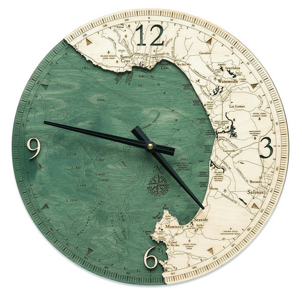 nautical wood monterey bay wall clock
