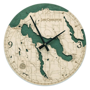 nautical wood lake charlevoix wall clock