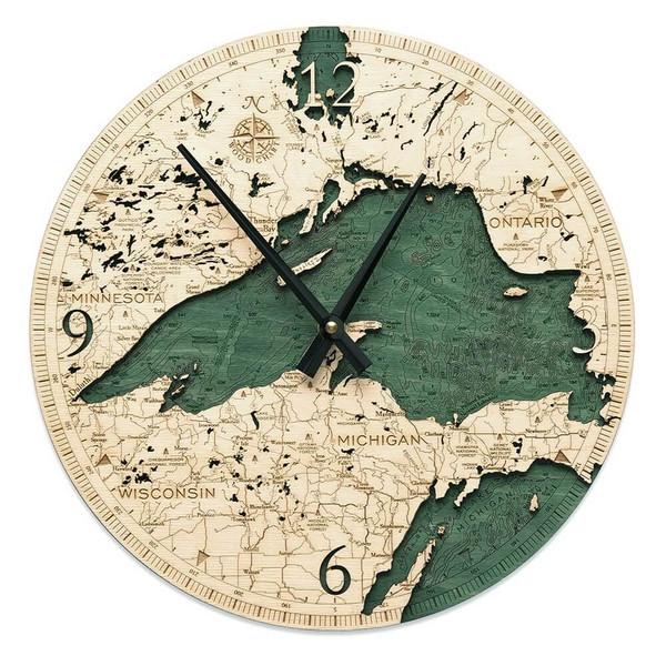 nautical wood lake superior wall clock
