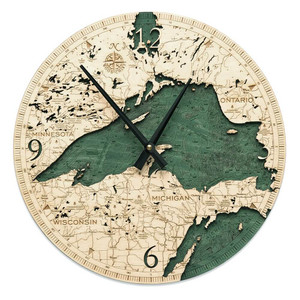 nautical wood lake superior wall clock