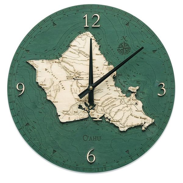 nautical wood oahu clock
