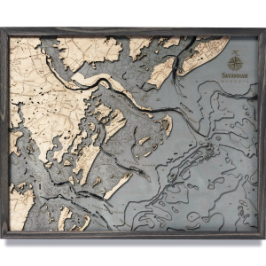 nautical wood maps savannah coastal blue grey