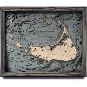 nautical wood maps nantucket coastal blue grey
