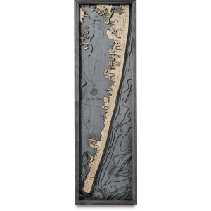 nautical wood maps ocean city coastal blue grey