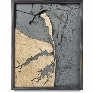 nautical wood maps rumson coastal blue grey