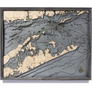 nautical wood maps hamptons/east long island sound coastal blue grey