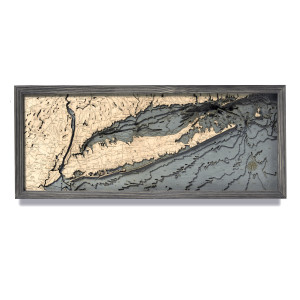 nautical wood maps long island sound coastal blue grey
