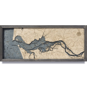 nautical wood maps columbia river mouth coastal blue grey