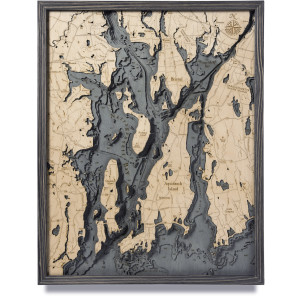 nautical wood maps narragansett / newport coastal blue grey
