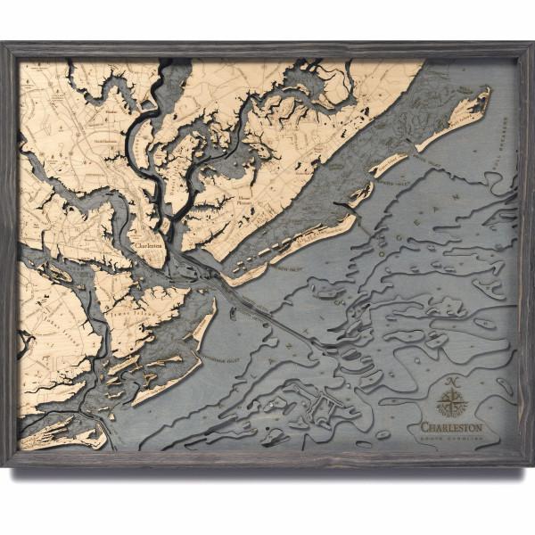 nautical wood maps charleston coastal blue grey