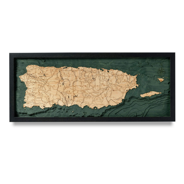 puerto rico nautical wood map