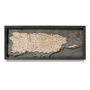puerto rico coastal blue grey nautical wood map